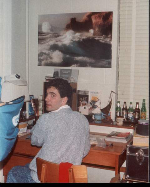 First college roommate, Gerard, at his desk.