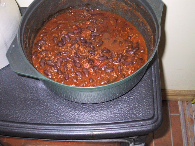 A pot of chili.